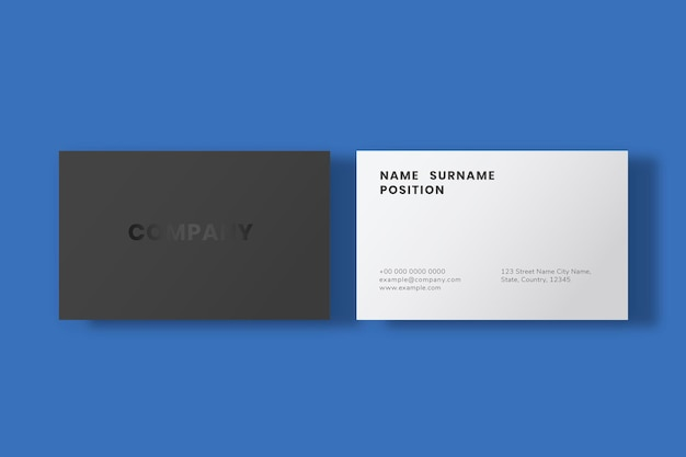 Prosty projekt wizytówki w minimalistycznej czerni i bieli z widokiem z przodu iz tyłu