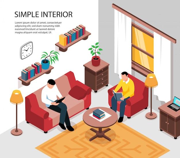 Prosty, przytulny apartamentowy wystrój wnętrza pokoju z kanapą, stolikiem kawowym, półkami na książki, widok izometryczny najemców