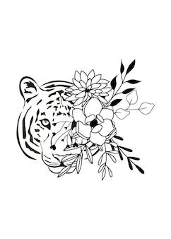 Prosty rysunek głowy tygrysa