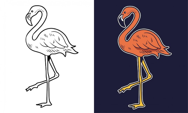 Prosty rysunek różowy flaming różowy piękno ptak lato zwierzę. postać z kreskówki ilustracja drukuj koszulka projekt naklejka łatka moda modny element.
