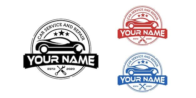 Prosty samochód vintage naprawa etykiety logo pieczęć lub szablon projektu naklejki
