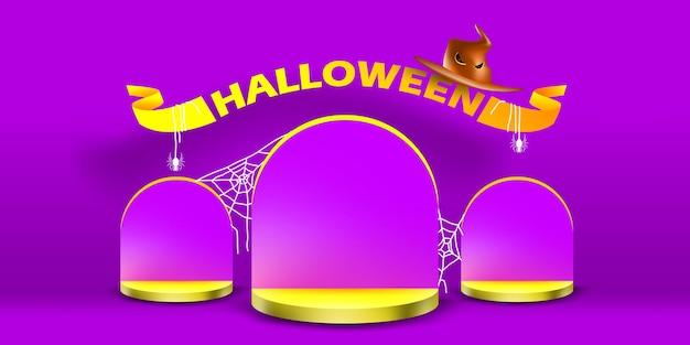 Prosty stojak na podium i prezentacja sceniczna z koncepcją halloweenowego nagrobka