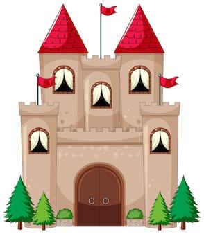 Prosty styl kreskówki zamku na białym tle