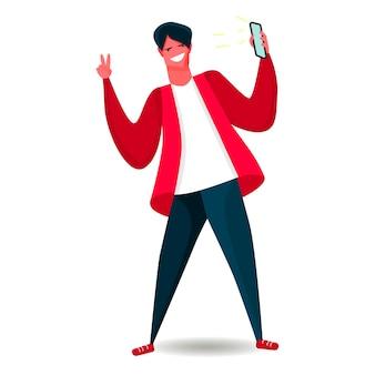 Prosty styl płaski. chłopiec z telefonem komórkowym