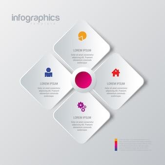 Prosty stylowy 4 infografiki szablon.