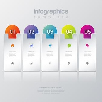 Prosty stylowy 5 infografiki szablon.