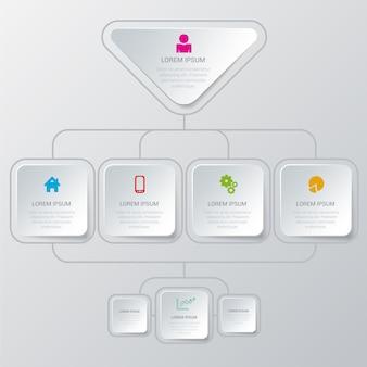 Prosty, stylowy, wielokolorowy proces struktury organizacyjnej
