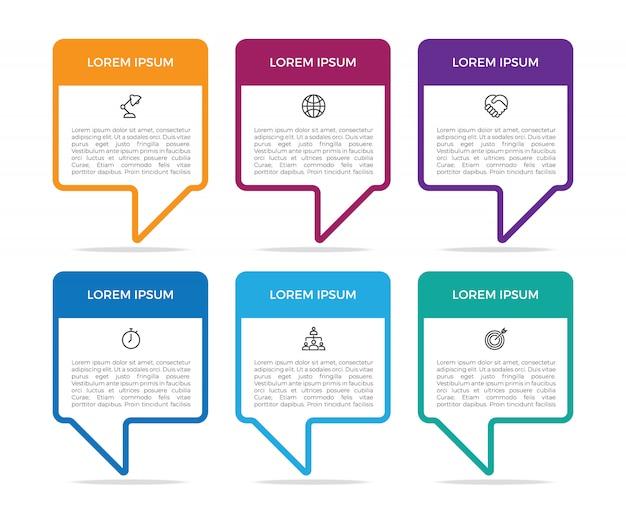 Prosty szablon bąbelkowy czat infographic szablon projektu