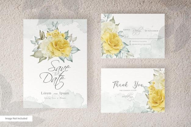 Prosty szablon karty ślubu akwarela zestaw z kwiatów i liści