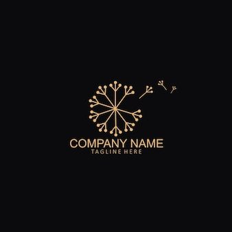 Prosty szablon kreatywny logo kwiat mniszka