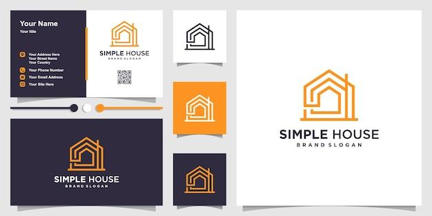 Prosty szablon logo domu z koncepcją grafiki liniowej i projektem wizytówki