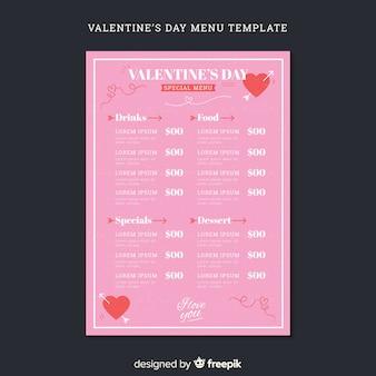 Prosty szablon menu valentine