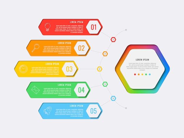 Prosty szablon projektu układu pięć kroków z sześciokątnymi elementami. schemat procesu biznesowego na baner, plakat, broszurę, raport roczny i prezentację z ikonami marketingu. eps 10