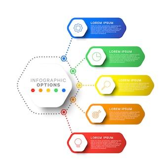 Prosty szablon projektu układu pięć kroków z sześciokątnymi elementami. schemat procesu biznesowego