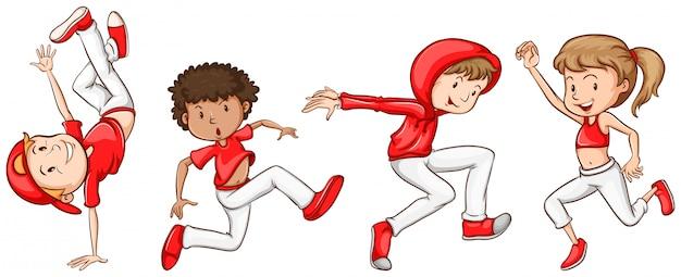 Prosty szkic tancerzy w kolorze czerwonym