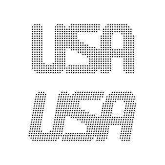 Prosty tekst usa z czarnych kropek. koncepcja kreatywnej kolekcji, podróży, vintage obrazu, znak 4 lipca, pieczęć. płaski trend nowoczesny logotyp projekt graficzny ilustracja wektorowa na białym tle