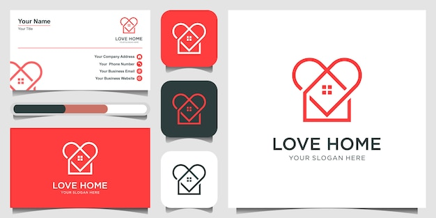 Prosty w kształcie domu i serca z nakładającymi się liniami. kształt linii domu. projekt logo i wizytówki