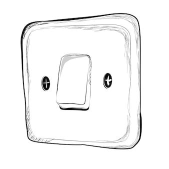 Prosty wektor doodle ręcznie rysować szkic przy wyłączeniu przełącznika energii elektrycznej