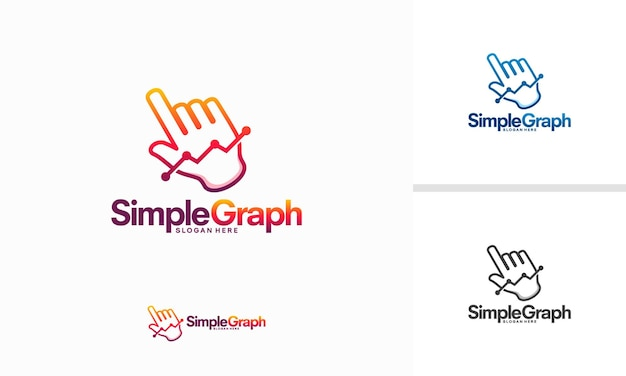 Prosty wykres logo projektuje wektor koncepcyjny, ilustracja wektorowa szablon logo online stats
