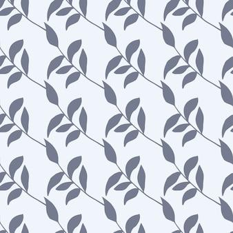 Prosty wzór botaniczny z rocznika gałęzi. na białym tle nadruk liści z niebieskim ornamentem na białym tle.