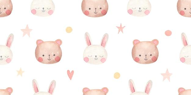 Prosty wzór dla dzieci z uroczych zwierzątek, niedźwiedzia i królika, akwarela na białym tle