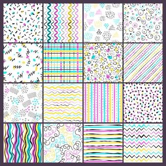 Prosty wzór linii. dziecinne kolorowe kształty w różnych formach, kropkach i doodlingowych paskach bez szwu tła
