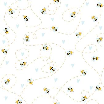 Prosty wzór na białym tle obraz pszczół kwiatów serc