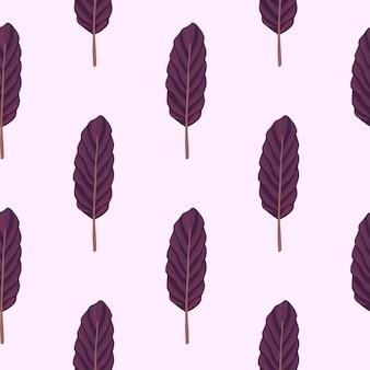 Prosty wzór na białym tle z sylwetkami liści. minimalistyczny ornament botaniczny w kolorze fioletowym
