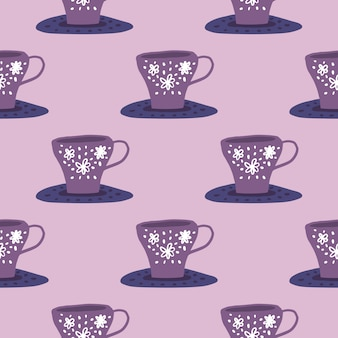 Prosty wzór ornamentu kuchennego z kubkami na płyny. fioletowo-liliowa paleta. stylizowany nadruk doodle.