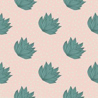 Prosty wzór z ręcznie rysowane liści krzewów. jasnoróżowe tło z kropkami i zielonymi liśćmi.