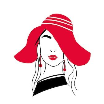 Prosty zarys portret pięknej stylowej młodej damy. szkic, rysunek modnej kobiety z czerwonymi ustami, kolczyki, długie włosy i kapelusz na białym tle. ręcznie rysowane ilustracji wektorowych.