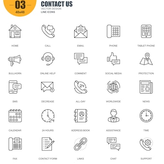 Prosty zestaw contact us related vector line icons