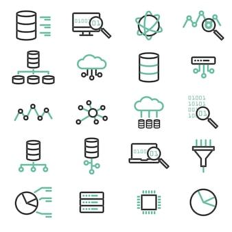 Prosty zestaw dużych danych, bazy danych, przetwarzanie w chmurze, serwer, ikony linii wektorowych sieci. elementy do komputera, sieci, aplikacji i koncepcji mobilnej.