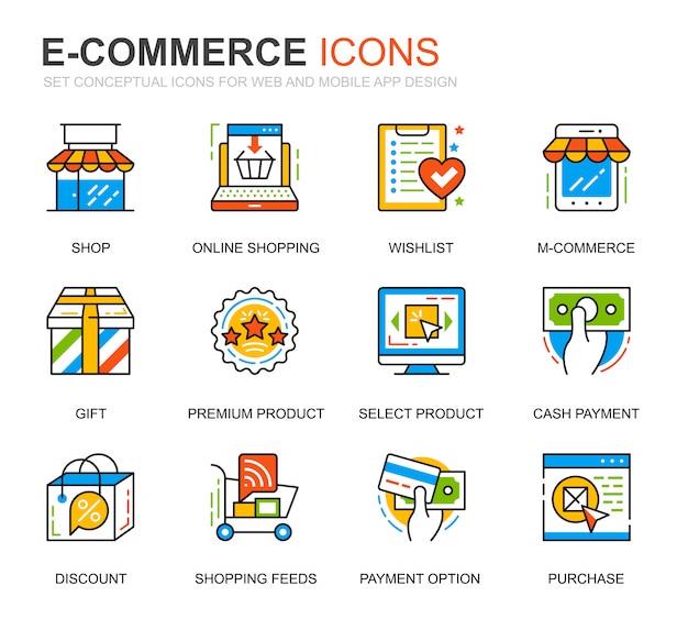 Prosty zestaw e-commerce i ikony linii zakupy na stronie internetowej