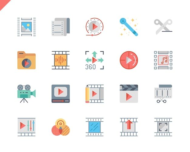 Prosty zestaw edycji wideo płaskie ikony