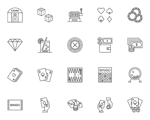 Prosty zestaw elementów kasyna powiązanych ikon w stylu linii