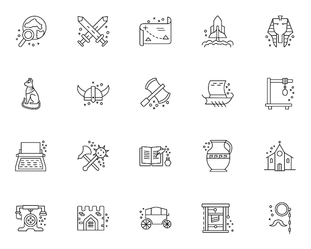 Prosty zestaw elementów związanych z historią ikony w stylu linii