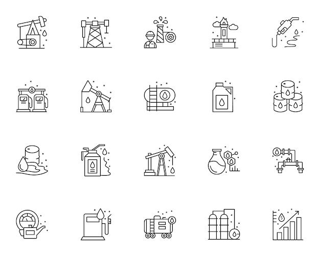 Prosty zestaw elementów związanych z olejem ikony w stylu linii