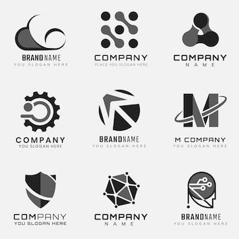 Prosty zestaw futurystycznych logo technologii korporacyjnej