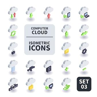 Prosty zestaw ikon chmura komputera.