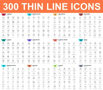 Prosty zestaw ikon cienka linia wektor