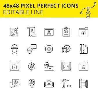 Prosty zestaw ikon dla procesów inżynieryjnych oraz projektowania i analizy, który obejmuje ikony rysunków technicznych i szkiców konstrukcyjnych.