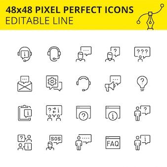 Prosty zestaw ikon do pomocy technicznej i wsparcia. uzyskaj kwalifikowaną odpowiedź w dowolnym momencie lub skonsultuj się ze specjalistą naszego callcenter. zawiera takie ikony, jak głośnik, zestaw słuchawkowy, operator.