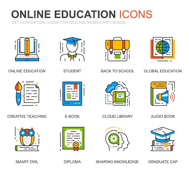 Prosty zestaw ikon edukacji i linii wiedzy na stronie internetowej