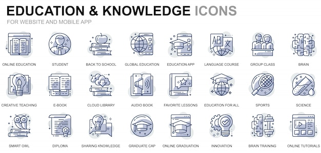 Prosty zestaw ikon edukacji i wiedzy dla stron internetowych i aplikacji mobilnych