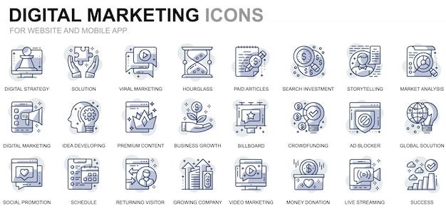 Prosty zestaw ikon linii biznesowych i marketingowych dla stron internetowych i aplikacji mobilnych