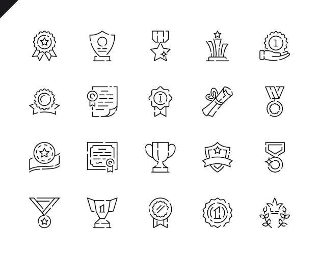 Prosty zestaw ikon linii nagrody dla strony internetowej i aplikacji mobilnych.