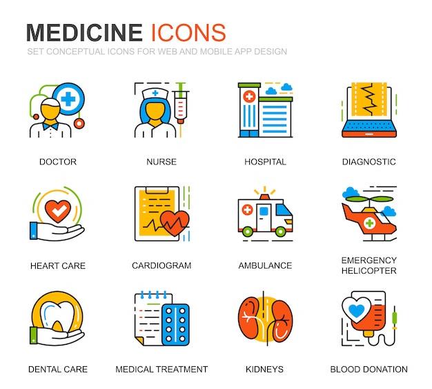 Prosty zestaw ikon linii opieki zdrowotnej i medycyny na stronie internetowej