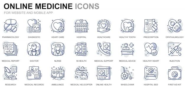 Prosty zestaw ikon linii opieki zdrowotnej i medycznej dla stron internetowych i aplikacji mobilnych