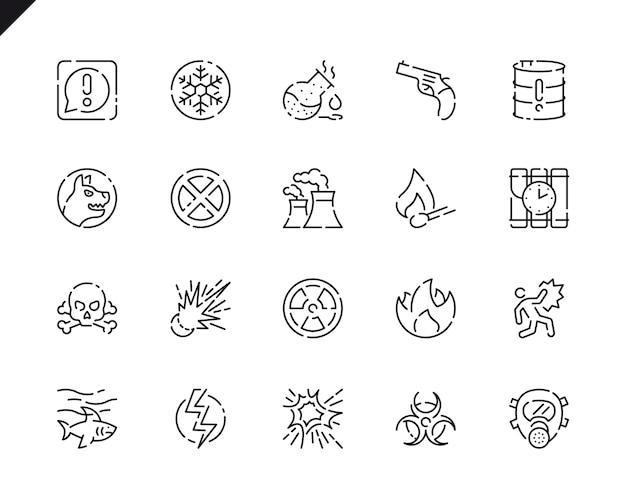 Prosty zestaw ikon linii ostrzegawczych dla witryny i aplikacji mobilnych.